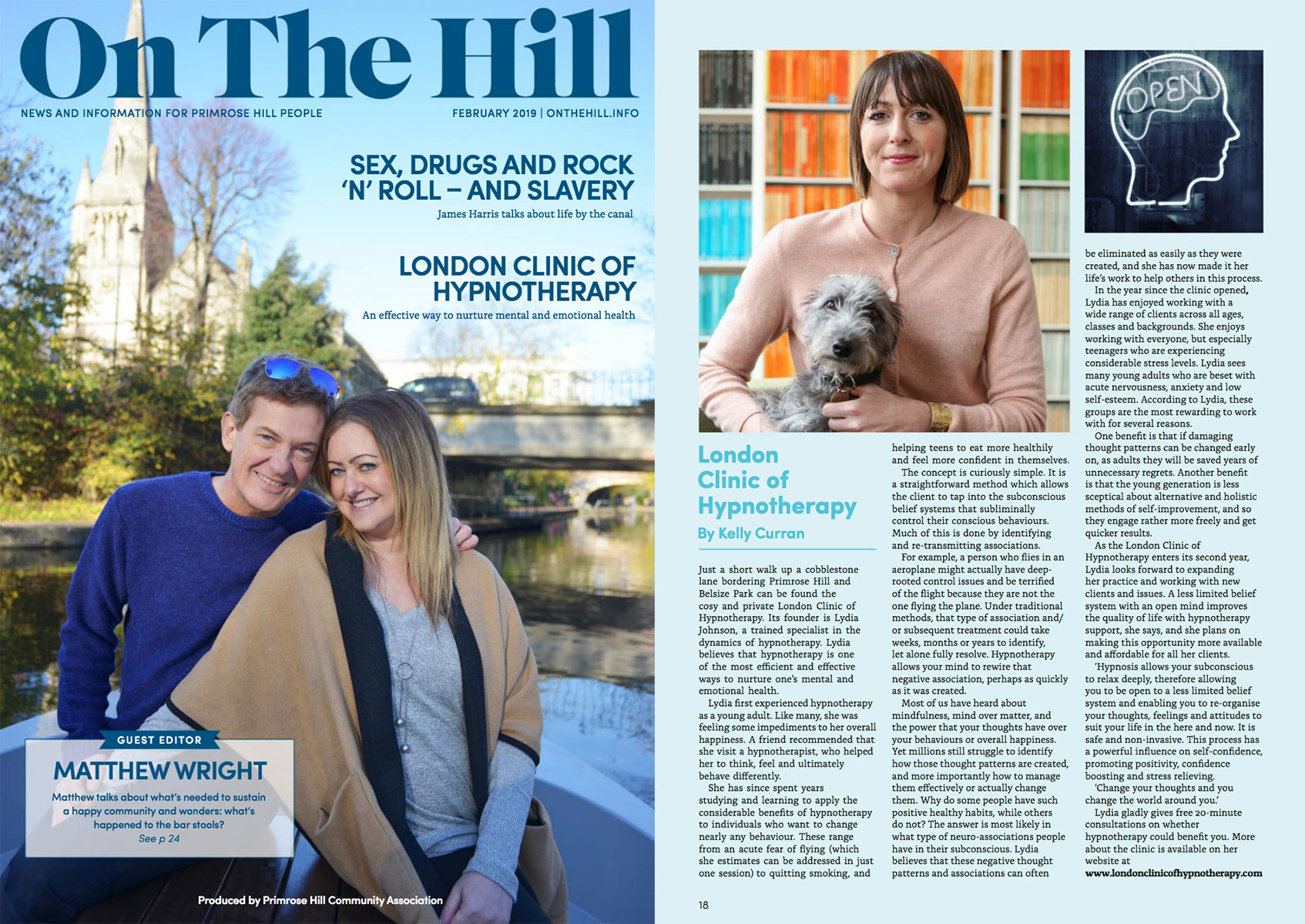 London Clinic of Hypnotherapy feature in On The Hill Magazine